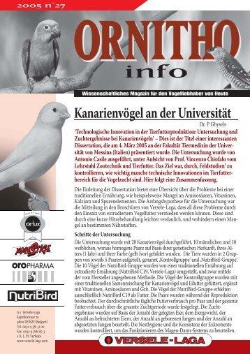 Ornitho Info nr. 27, 1. September 2005 - Versele-Laga