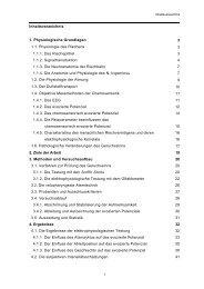 Inhaltsverzeichnis 1. Physiologische Grundlagen 3 1.1. Physiologie ...