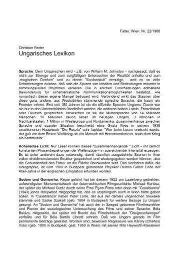Ungarisches Lexikon - Christian Reder