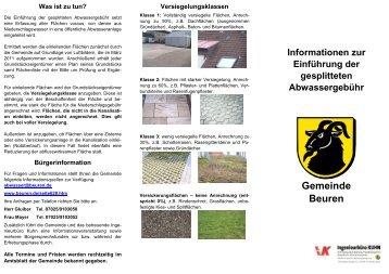 Einführung der gesplitteten Abwassergebühr - Gemeinde Beuren