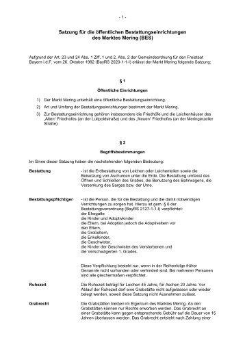 Satzung für die öffentlichen Bestattungseinrichtungen ... - VG Mering
