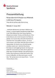 Nospa überreicht Ehepaar aus Mildstedt 5.000 Euro PS-Gewinn