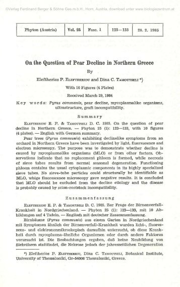 On the Question of Pear Decline in Northern Greece
