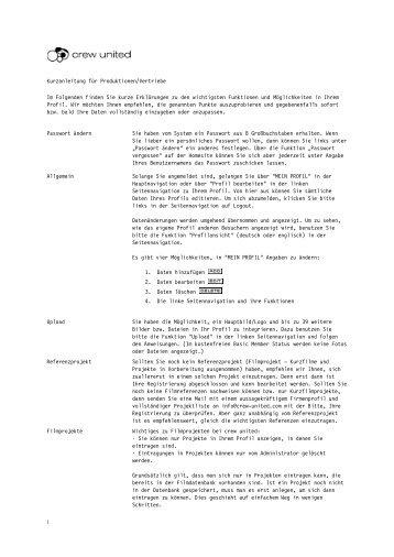 Kurzanleitung für Produktionen/Vertriebe Im ... - Crew United