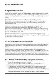 Access 2003 Professional 5 Zugriffsrechte verwalten 5.1 Das ...