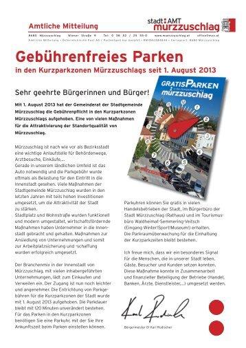 Gebührenfreies Parken - Stadtgemeinde Mürzzuschlag