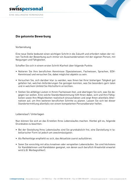 Die Gekonnte Bewerbung Pdf Swisspersonal