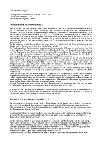 Stellungnahme der LAK zur geplanten Novellierung des BerlHG