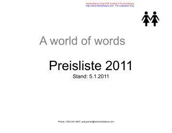 Unsere Preisliste 2011