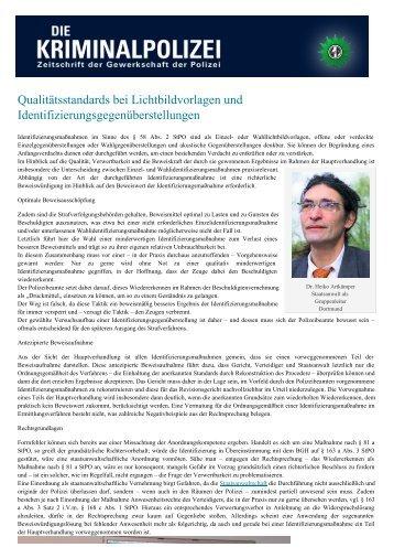 Qualitätsstandards bei Lichtbildvorlagen und ... - Die Kriminalpolizei