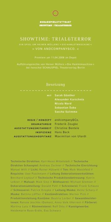 SHOWTIME: TrIal&TErrOr - Schauspiel Stuttgart