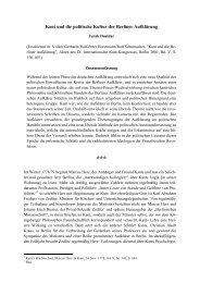 Kant und die politische Kultur der Berliner Aufklärung