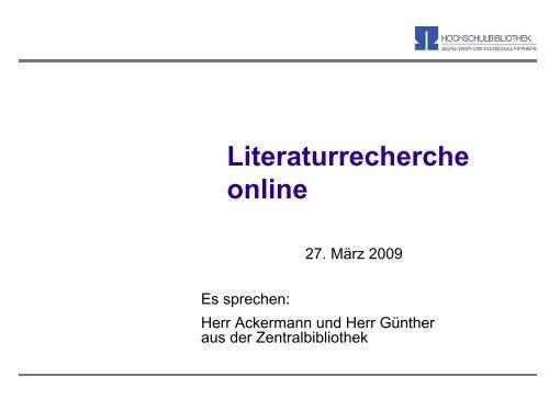 Literatur-Recherche online - Georg-Simon-Ohm-Hochschule Nürnberg