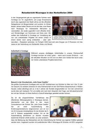 Reisebericht Nicaragua in den Herbstferien 2004 - Condega-Verein