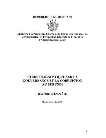 Etude Diagnostique Sur La Gouvernance Burundi News
