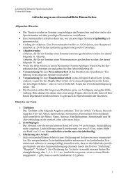 Anforderungen an wissenschaftliche Hausarbeiten - Universität ...