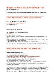 Hunger auf Kunst & Kultur   NEWSLETTER - Culture Unlimited