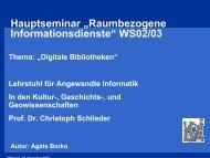 Digitale Bibliotheken - Lehrstuhl für Angewandte Informatik in den ...