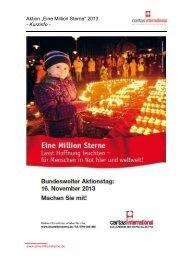 """Aktion """"Eine Million Sterne"""" 2013 - Kurzinfo - - Caritas international"""