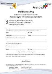 Praktikumsvertrag Realschule plus mit Fachoberschule in Dahn