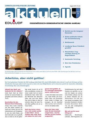 Arbeitslos, aber nicht gottlos! - EDU Schweiz