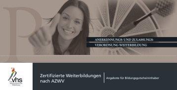 Zertifizierte Weiterbildungen nach AZWV - Volkshochschule ...