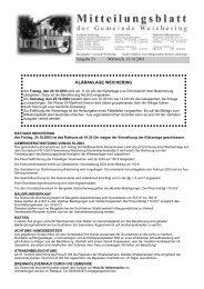 Ausgabe 21 Mittwoch, 15.10.2003 KLÄRANLAGE WEICHERING