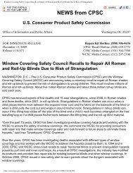 Window Covering Safety Council Recalls to ... - Lewis Hyman, Inc.