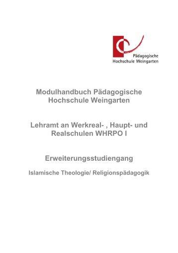 Modulbeschreibung WHRPO I 2011 - Pädagogische Hochschule ...