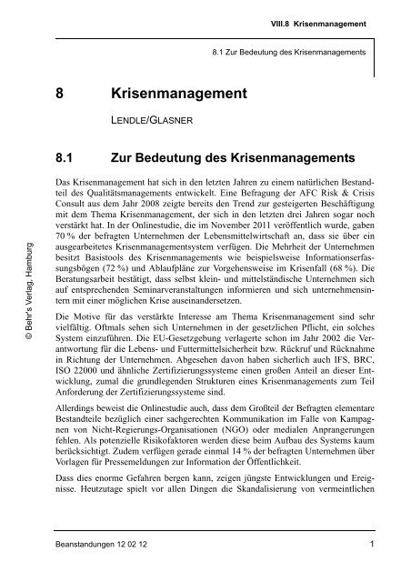 VIII.8 Krisenmanagement - HACCP