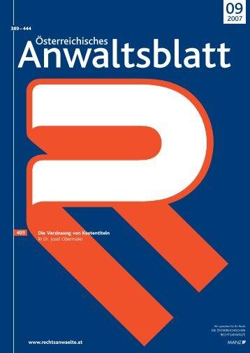 Anwaltsblatt 2007/09 - Österreichischer Rechtsanwaltskammertag