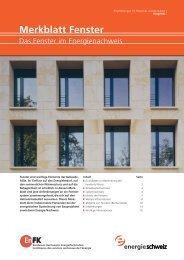 Merkblatt Fenster - Bundesamt für Energie BFE - admin.ch