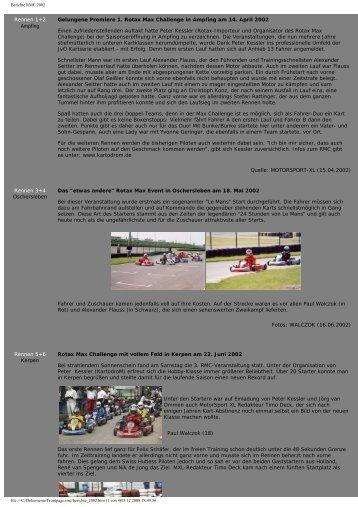 Berichte RMC 2002 - ROTAX MAX Challenge