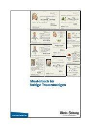 Musterbuch für farbige Traueranzeigen