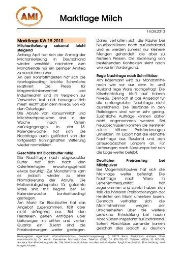 Marktlage Milch - Ezg-milch.de