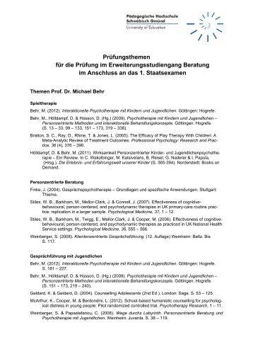 Prüfungslthemen für den Erweiterungsstudiengang Stand