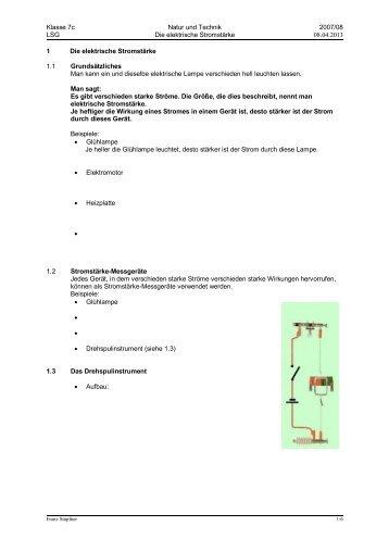 Arbeitsblatt Zu Aspekte 1 Kapitel 7 : Natur technik arbeitsblatt zum elektrischen stromkreis