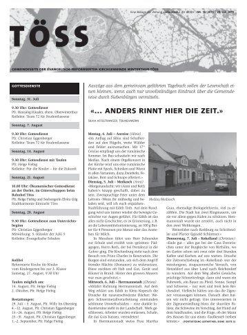Gemeindeseite Töss Nr. 15 vom 29. Juli 2011, Beilage zur Zeitung ...