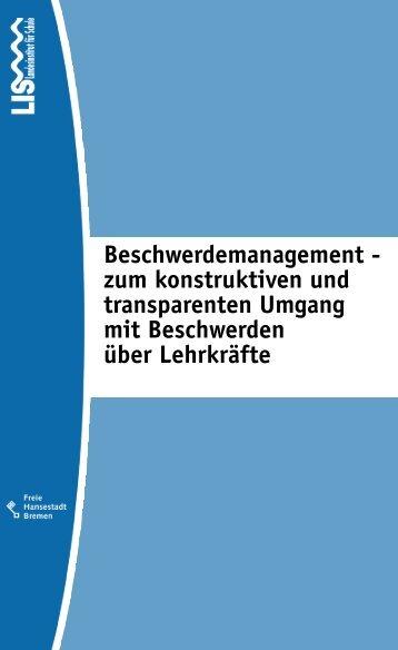 Beschwerdemanagement in Schulen - Personalrat Schulen Bremen