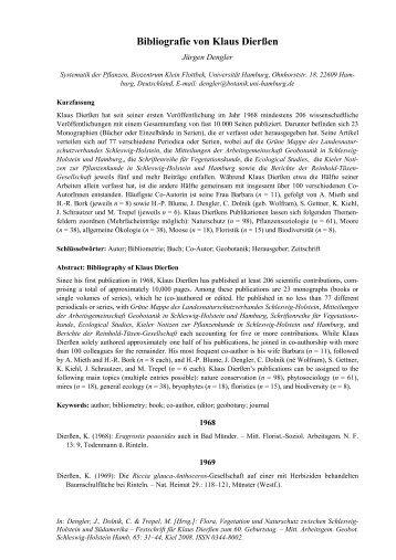 Bibliografie von Klaus Dierßen - Biodiversität, Evolution und ...