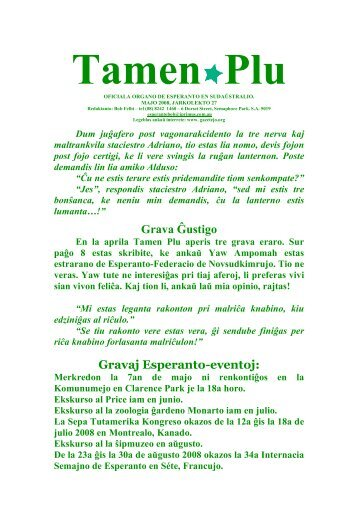Tamen plu, 2008-05 - Esperanto en Sudaŭstralio