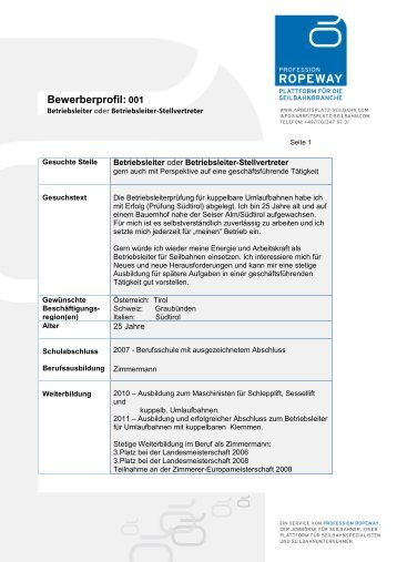 Bewerberprofil: 001 - Arbeitsplatz Seilbahn