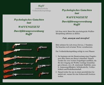 Psychologisches Gutachten laut WAFFENGESETZ ...