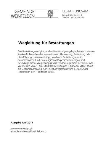 Wegleitung für Bestattungen - Gemeinde Weinfelden