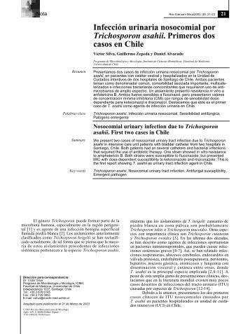 Infección urinaria nosocomial por Trichosporon asahii. Primeros dos ...