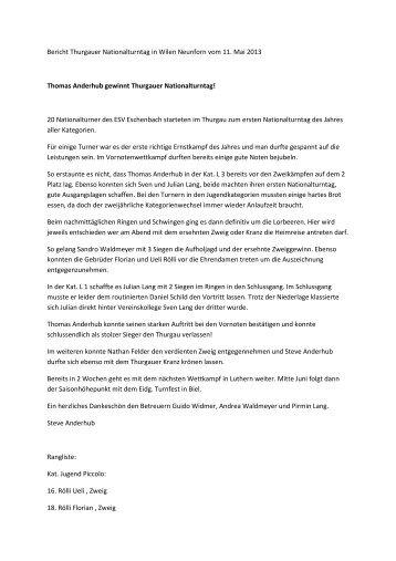 Bericht Thurgauer Nationalturntag in Wilen ... - ESV Eschenbach
