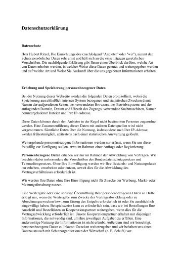 Die Datenschutzerklärung als PDF zum Download