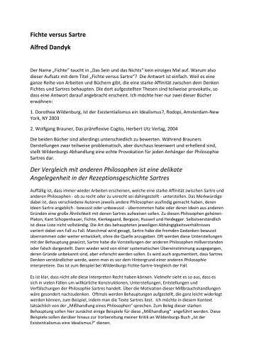 Fichte versus Sartre Alfred Dandyk Der Vergleich mit anderen ...
