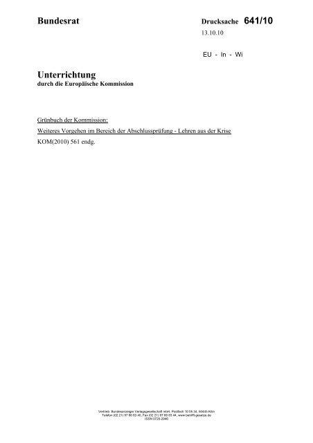 Drucksache 641/10 - Umwelt-online
