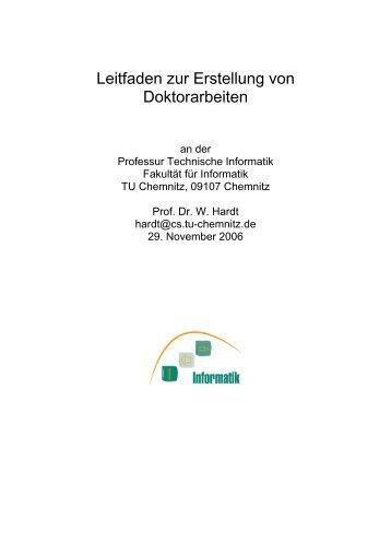 Leitfaden zur Erstellung von Doktorarbeiten - Professur Technische ...